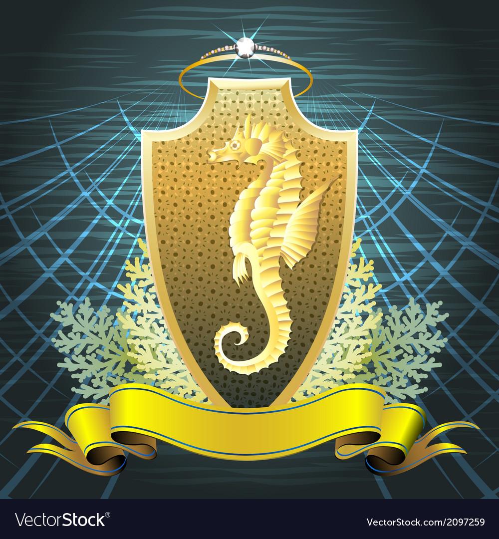 The seahorse shield vector | Price: 1 Credit (USD $1)