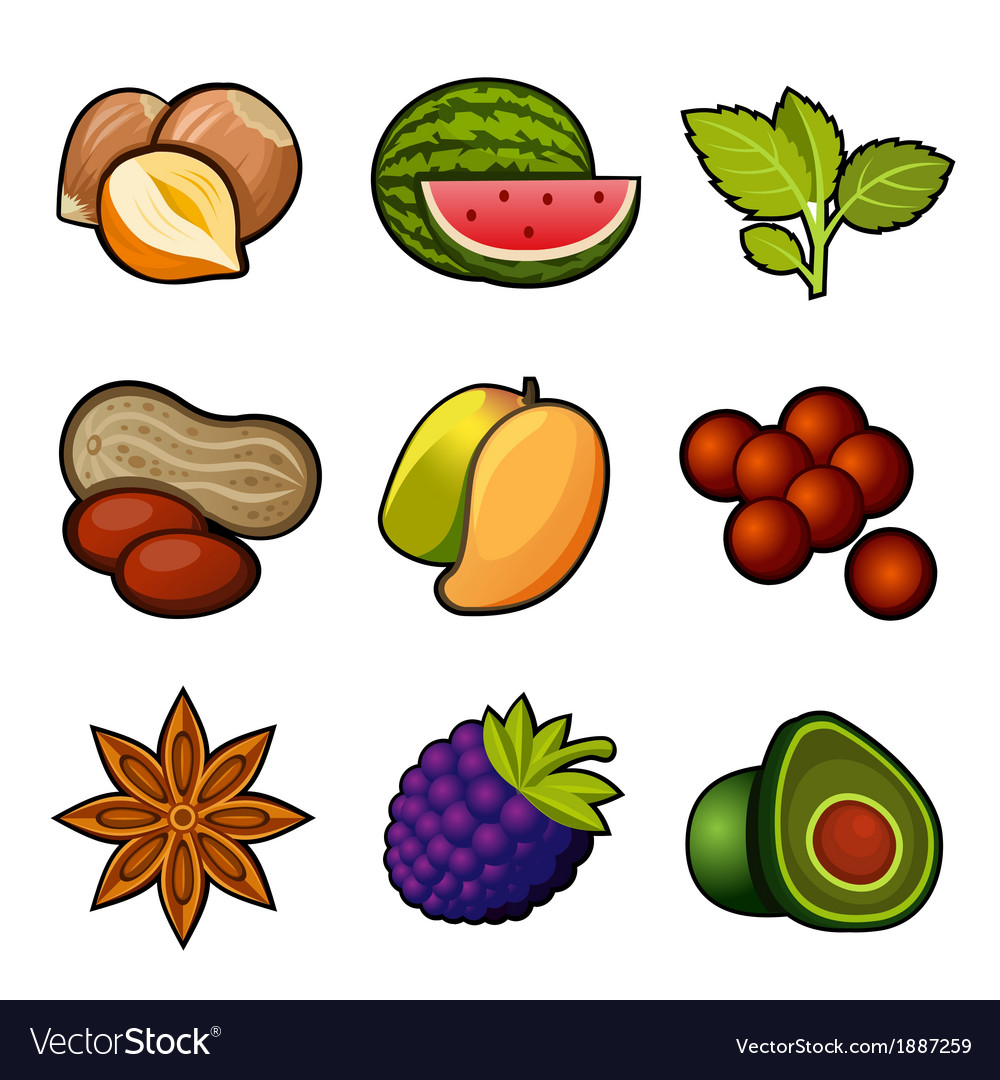 Set of fruit icons vector | Price: 1 Credit (USD $1)