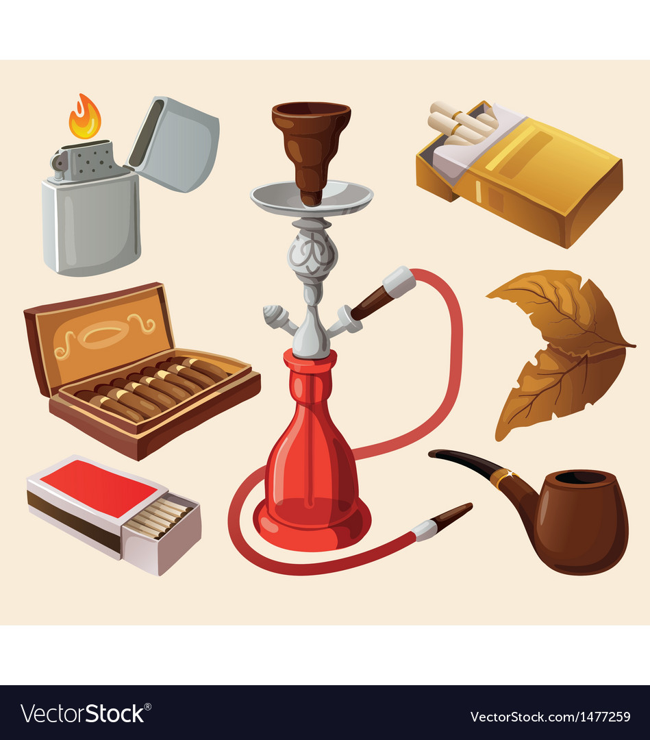 Set of traditional smoking devices vector | Price: 3 Credit (USD $3)
