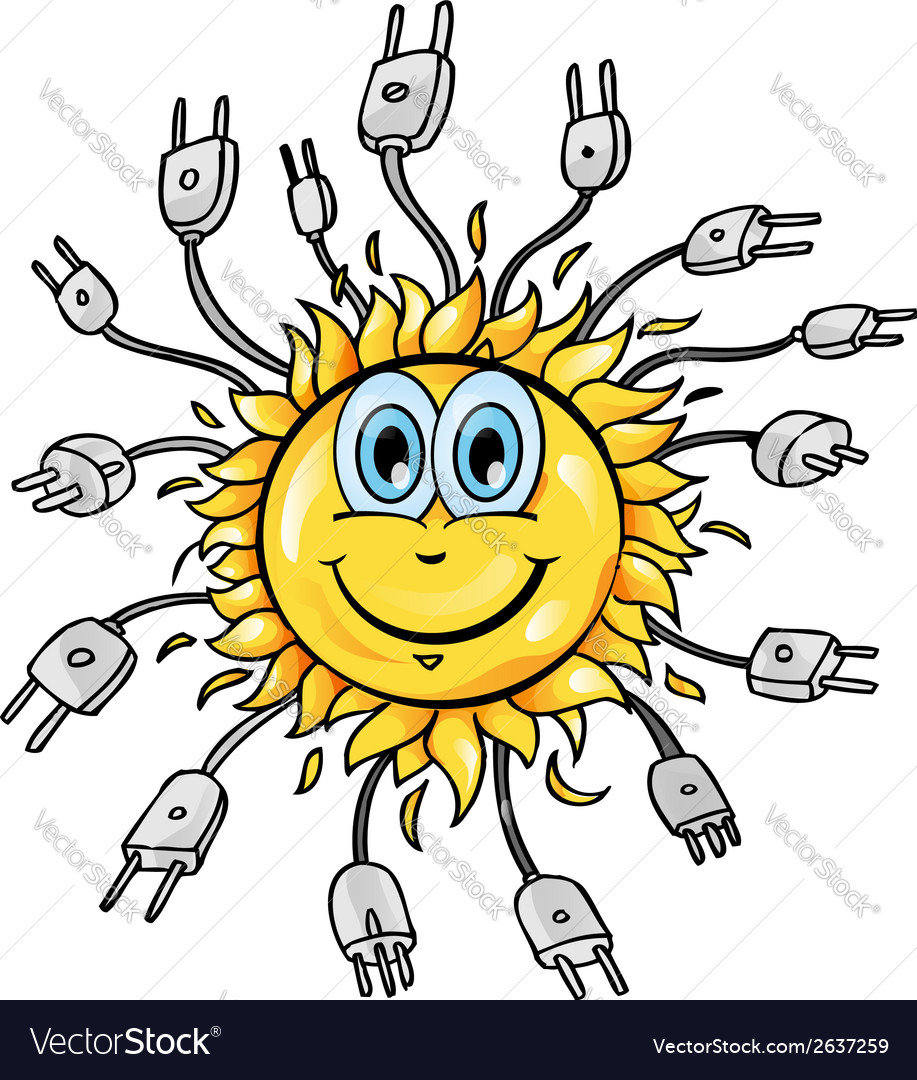 Sun cartoon with plung vector | Price: 1 Credit (USD $1)