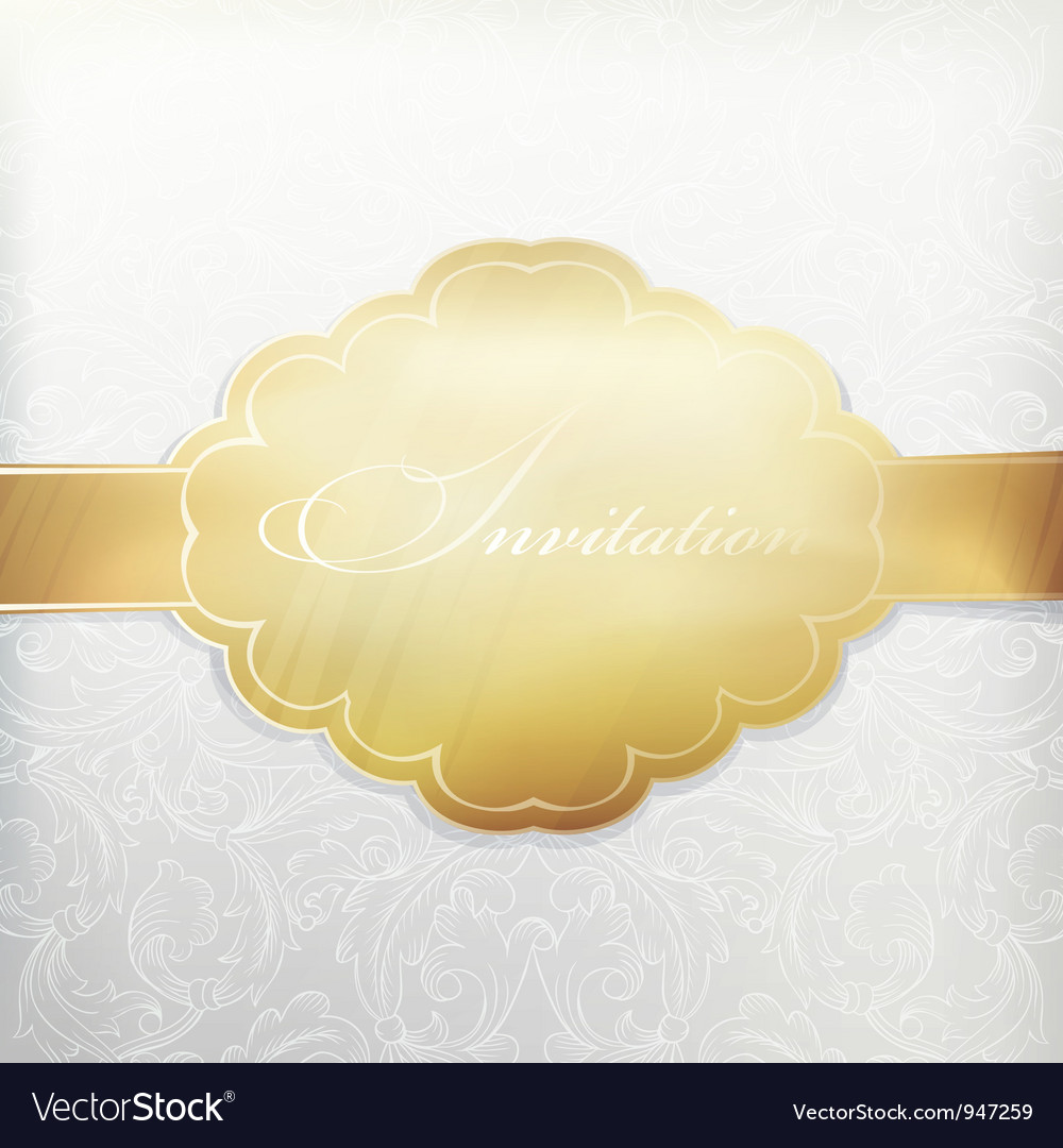 White vintage invitation with golden label vector | Price: 1 Credit (USD $1)