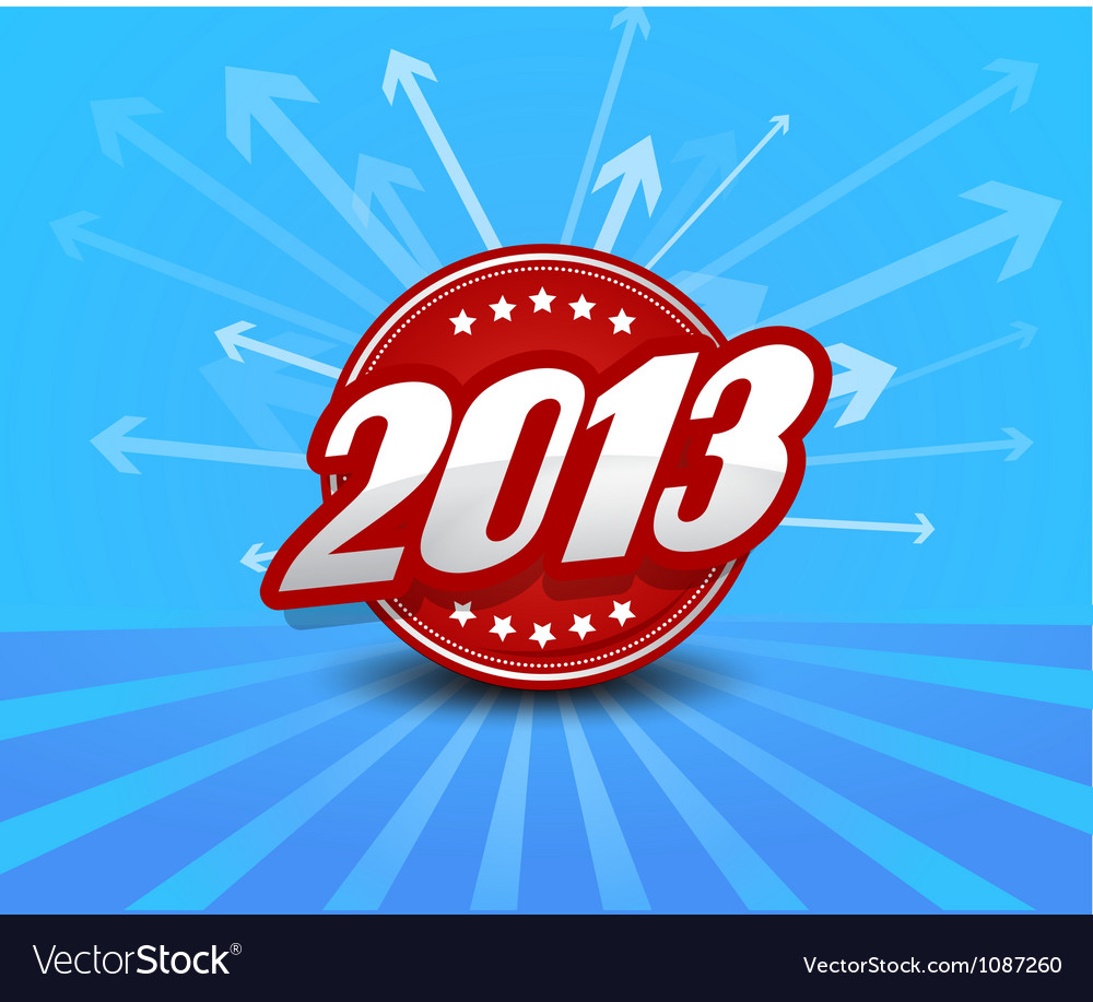 2013 label on blue background with arrows vector | Price: 1 Credit (USD $1)