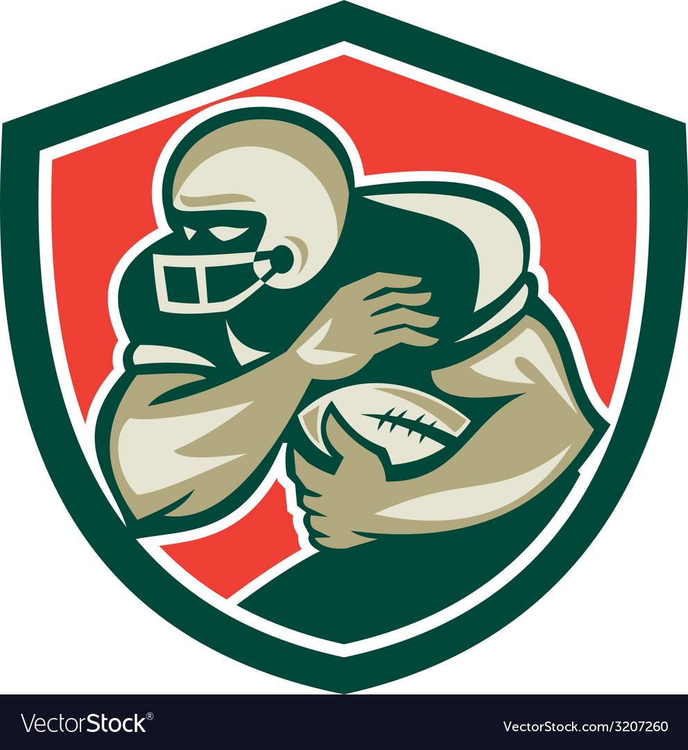 American football running back fending shield vector   Price: 1 Credit (USD $1)