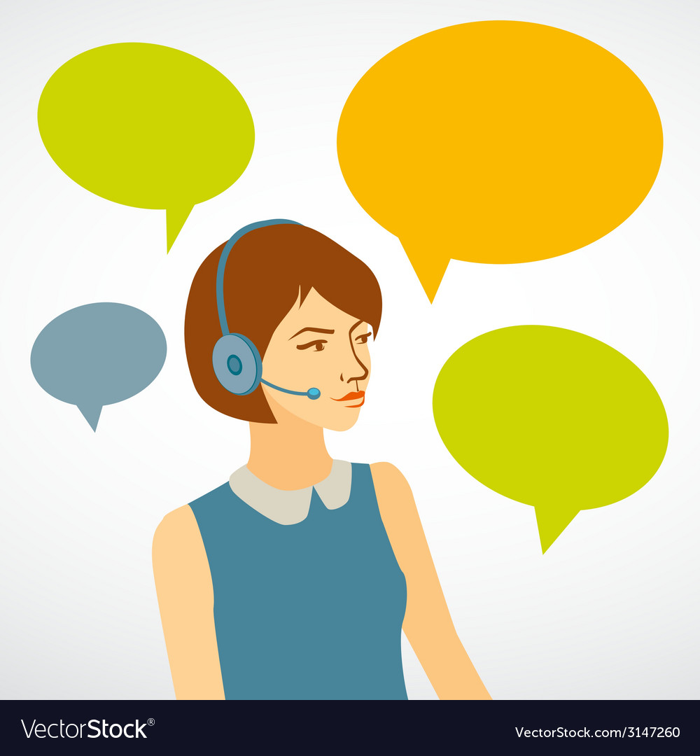 Beautiful woman working in a call center with vector | Price: 1 Credit (USD $1)