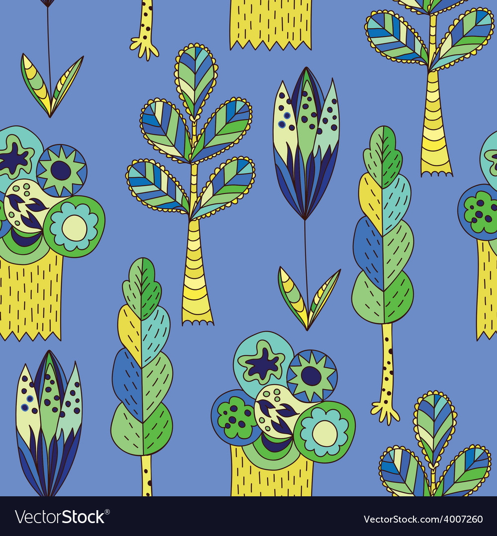Blue children pattern with trees vector | Price: 1 Credit (USD $1)