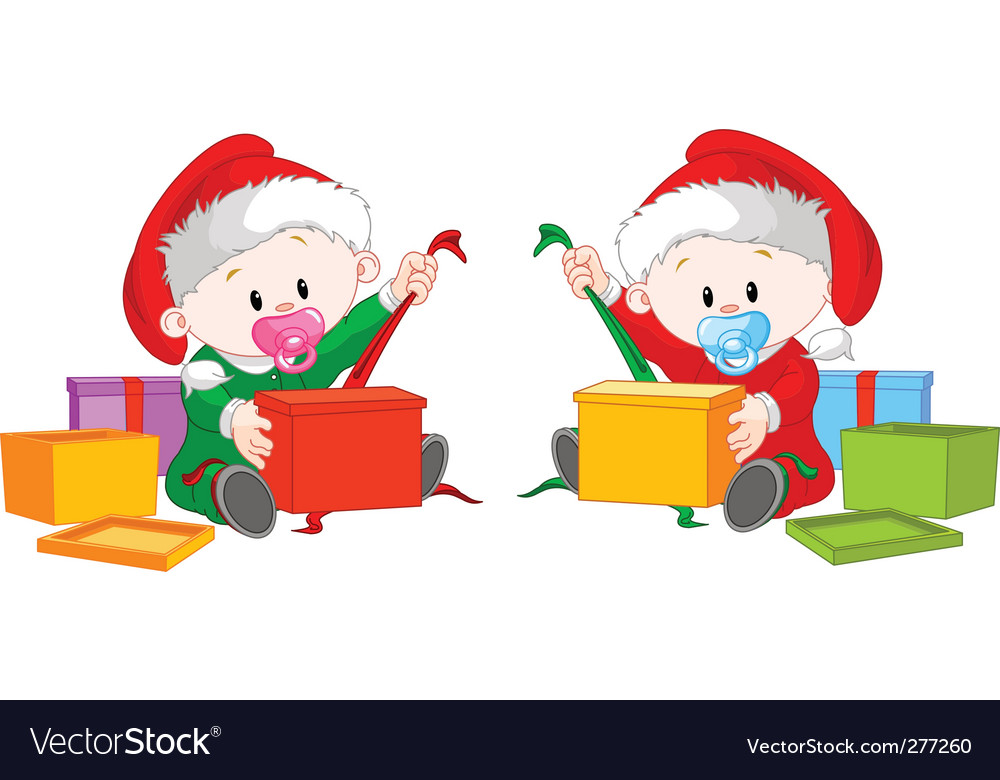 Christmas twins open gift vector | Price: 3 Credit (USD $3)