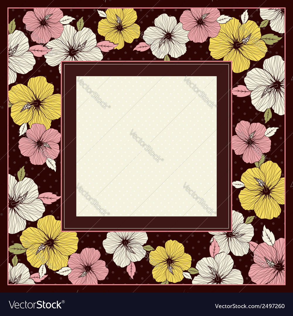 Frame of hibiscus on brown background vector | Price: 1 Credit (USD $1)
