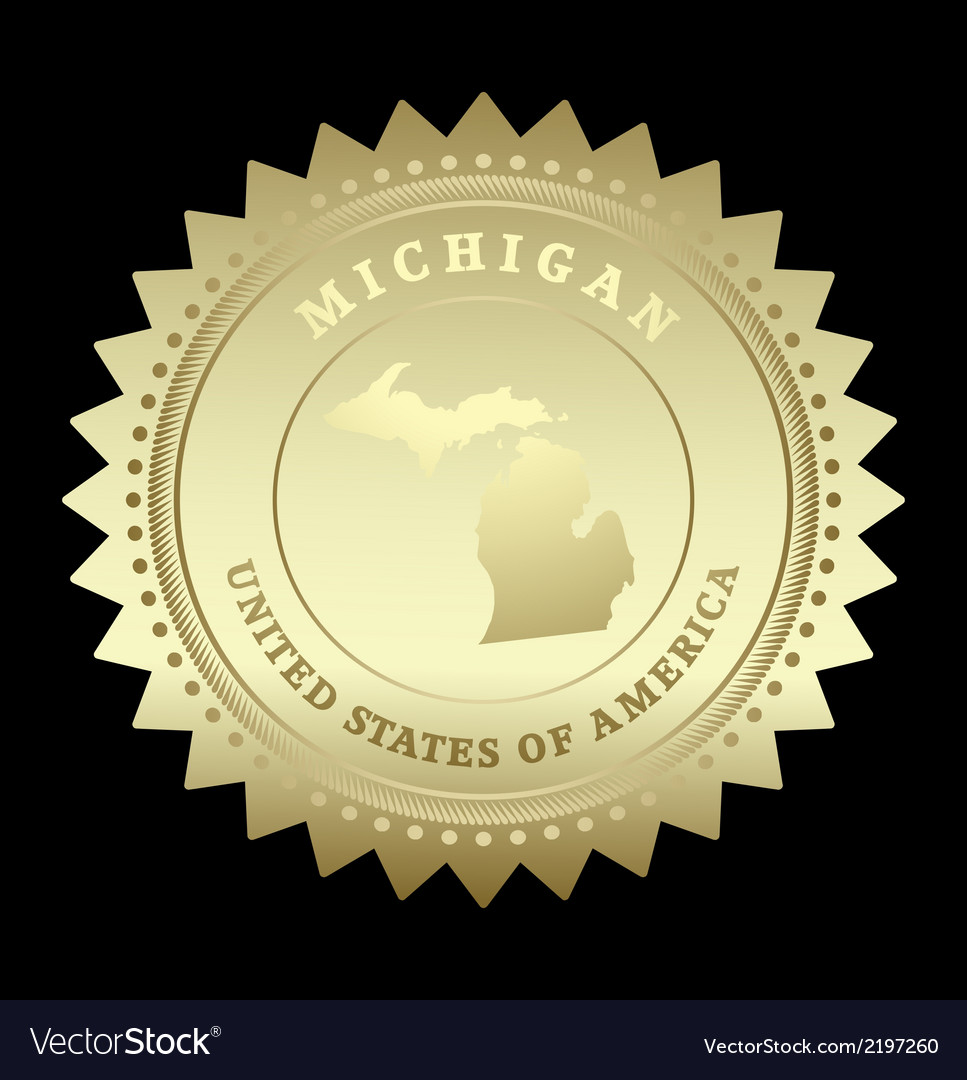 Gold star label michigan vector | Price: 1 Credit (USD $1)