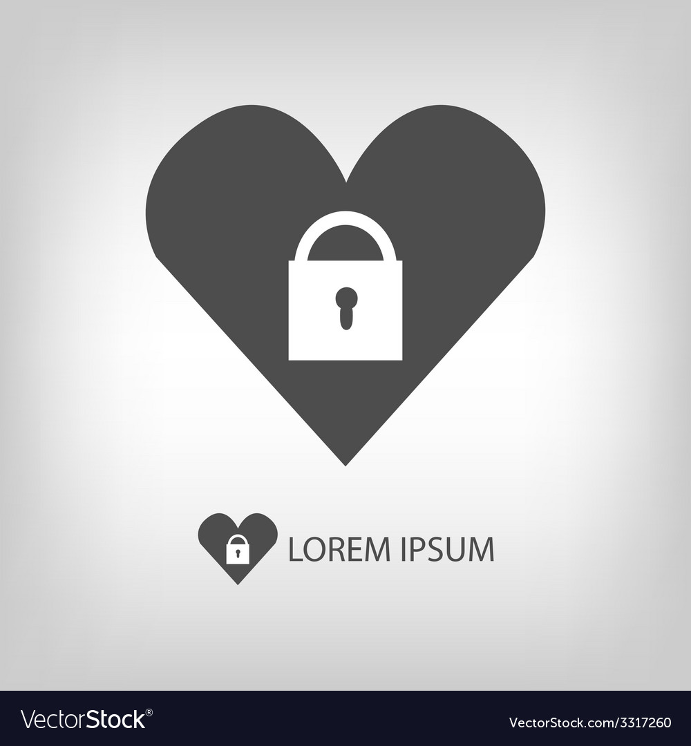 Heart with lock logo vector | Price: 1 Credit (USD $1)