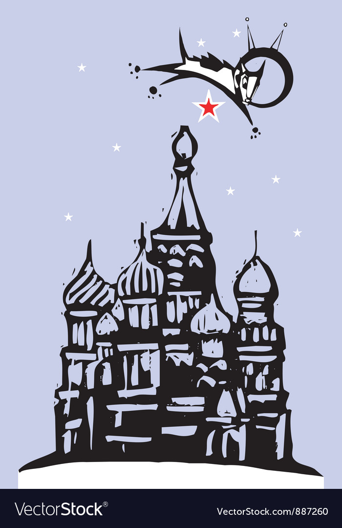 Laika over red square vector | Price: 1 Credit (USD $1)