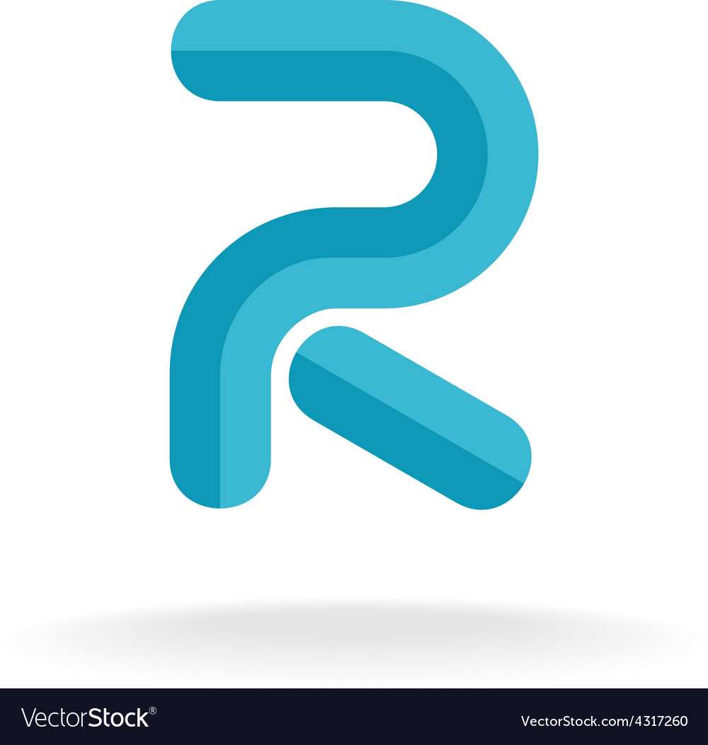 Letter r logo flat bevel technical style vector | Price: 1 Credit (USD $1)