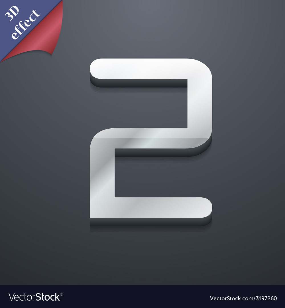 Number two icon symbol 3d style trendy modern vector | Price: 1 Credit (USD $1)