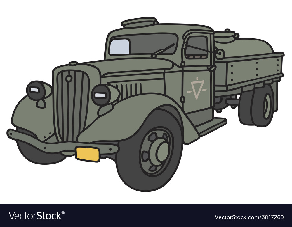 Old military tank truck vector | Price: 1 Credit (USD $1)