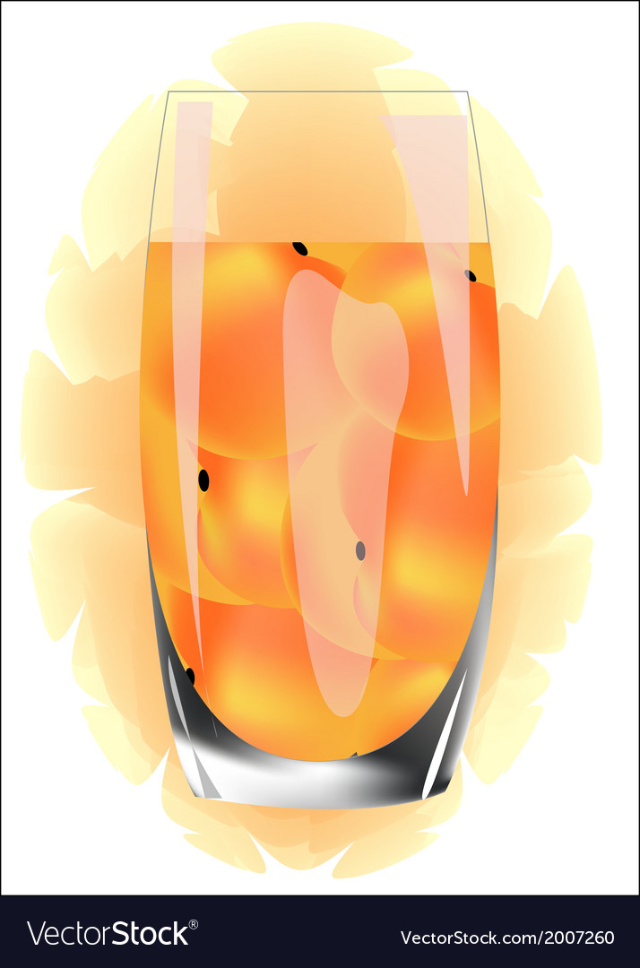 Peach juice in a glass on a white background vector | Price: 1 Credit (USD $1)
