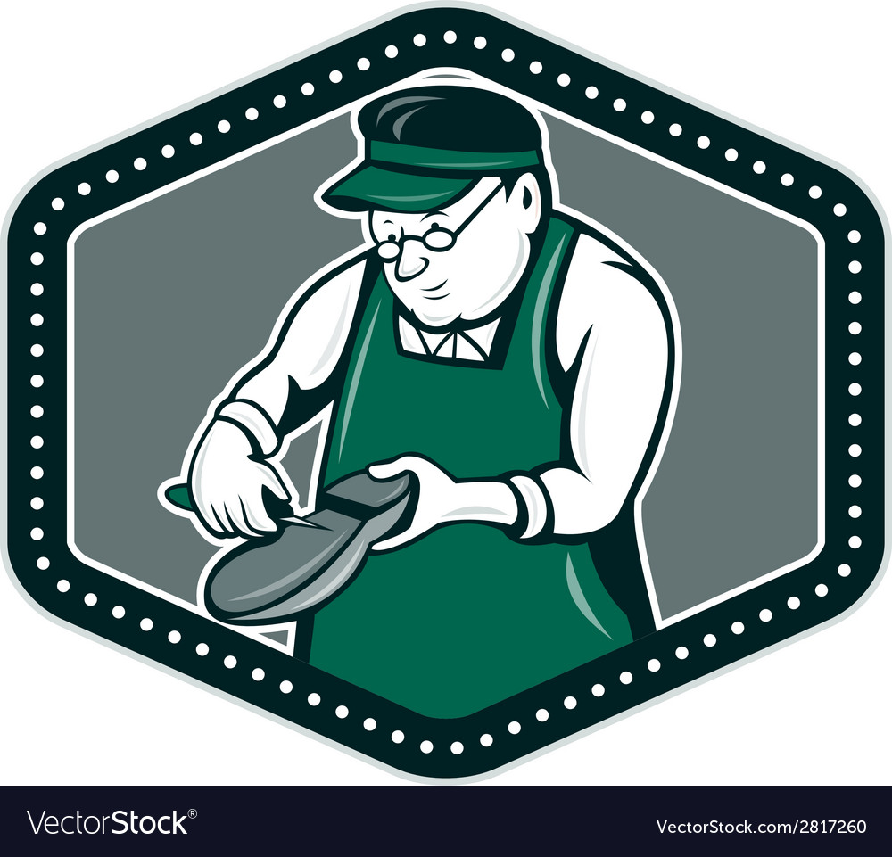 Shoemaker cobbler shield cartoon vector | Price: 1 Credit (USD $1)