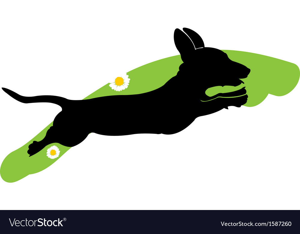 Silhouette of running dog vector | Price: 1 Credit (USD $1)