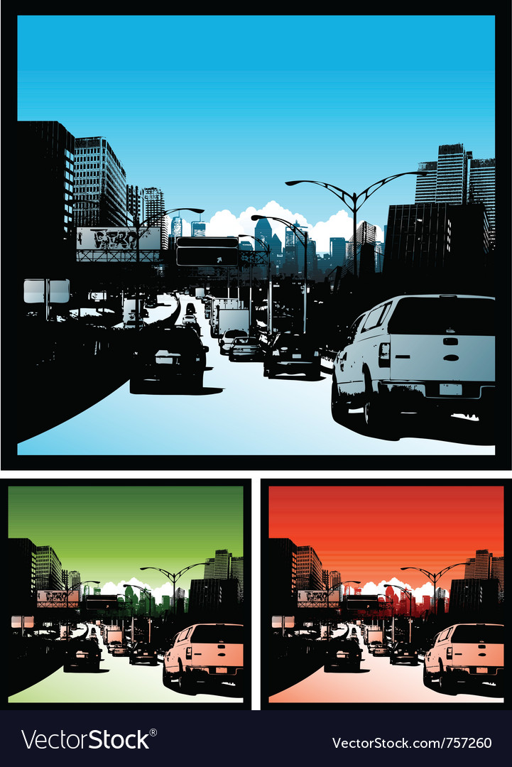 Traffic jam background downtown city vector | Price: 3 Credit (USD $3)
