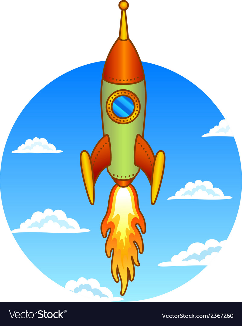 Vintage old rocket on a sky background vector | Price: 1 Credit (USD $1)