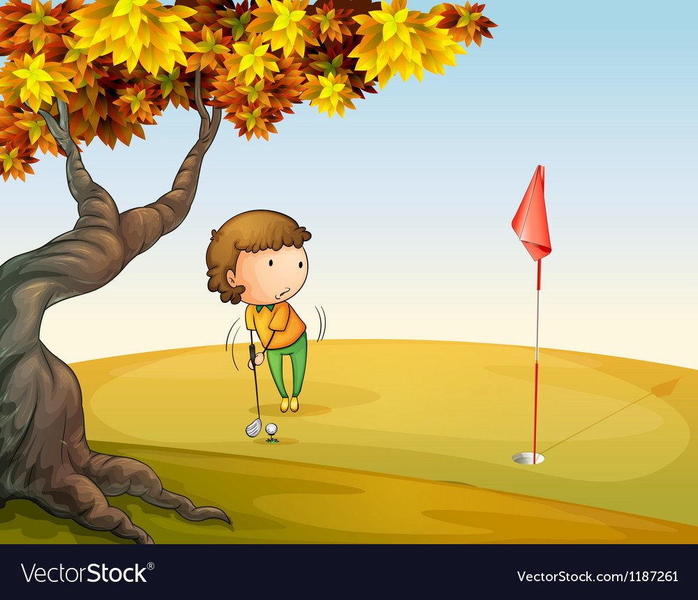 A woman playing golf at the park vector | Price: 1 Credit (USD $1)