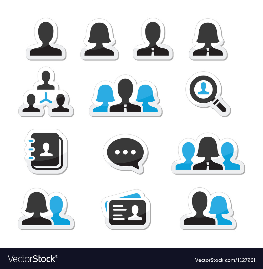 Businessman businesswoman user icons set vector