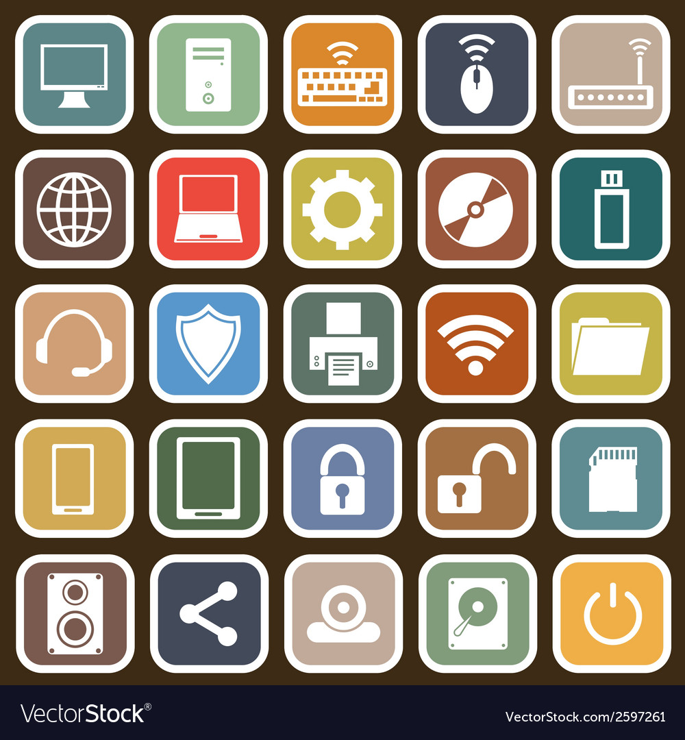 Computer flat icons on brown background vector | Price: 1 Credit (USD $1)