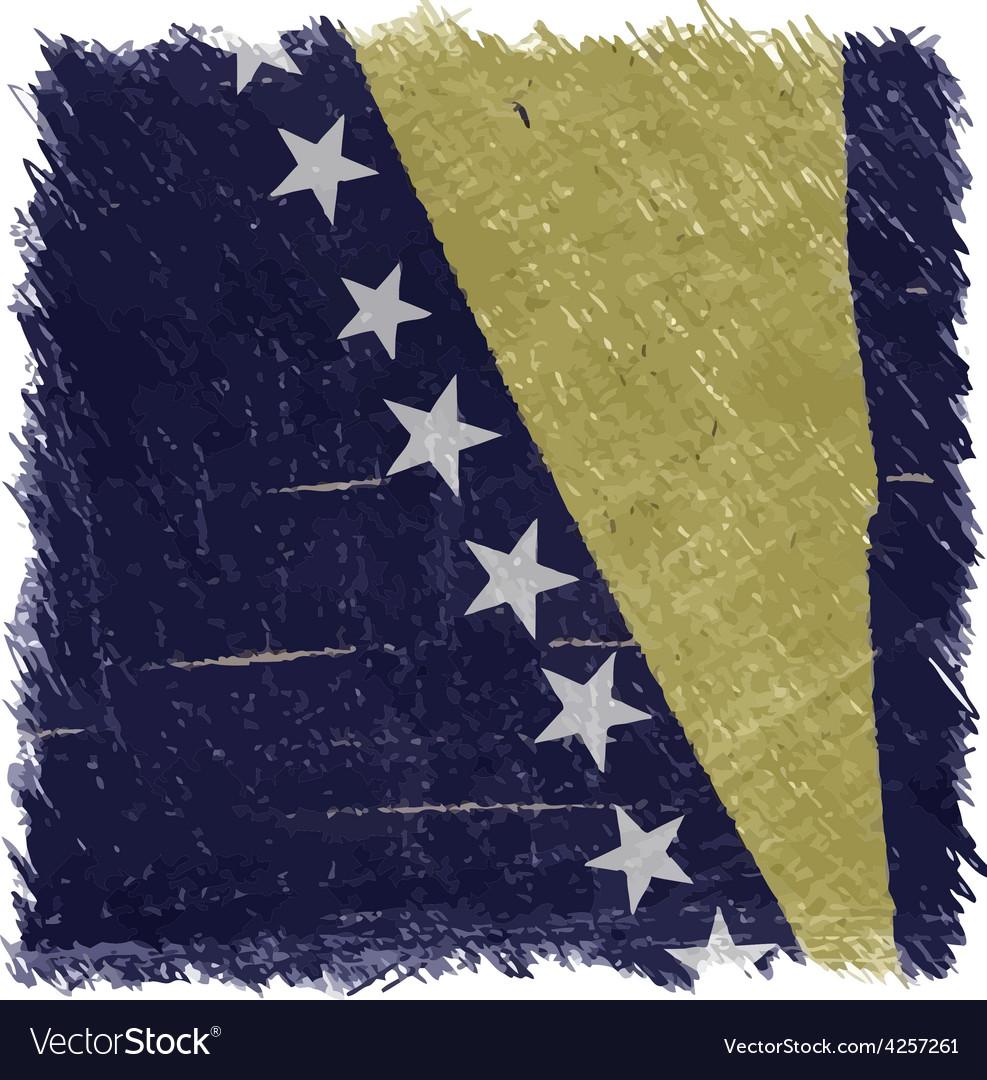 Flag of bosnia and herzegovina handmade vector | Price: 1 Credit (USD $1)