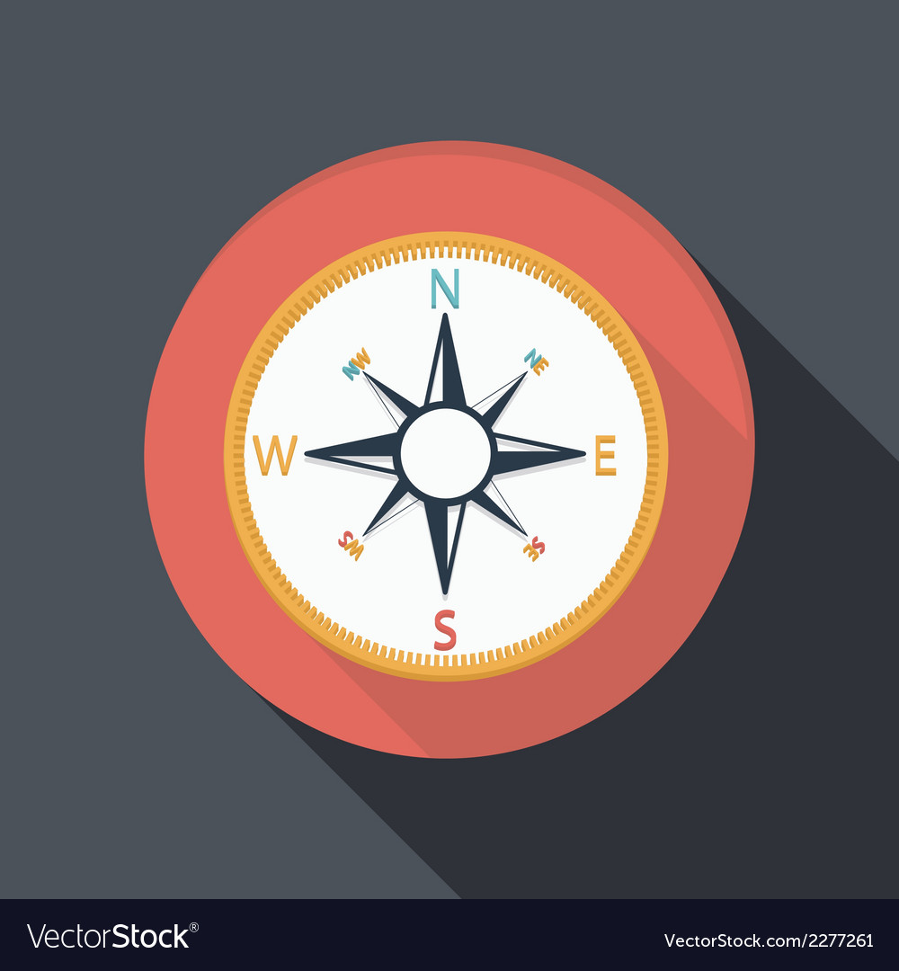 Flat icon with a shadow compass vector | Price: 1 Credit (USD $1)