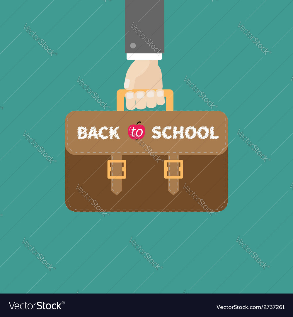 Hand holding brown schoolbag briefcase flat vector | Price: 1 Credit (USD $1)