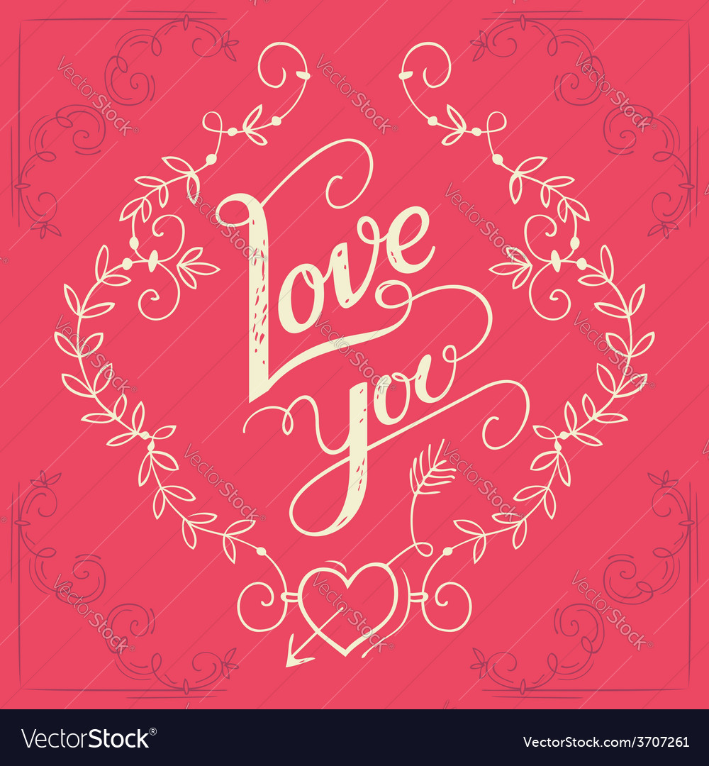 Love you hand-lettering card vector | Price: 1 Credit (USD $1)