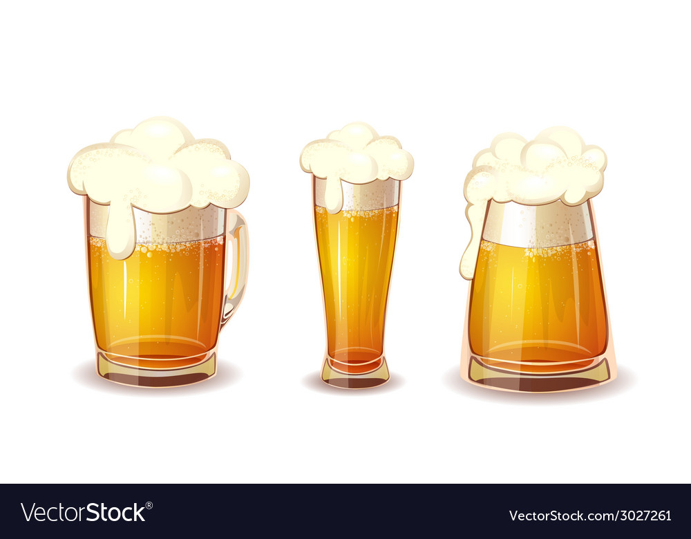 Set of beer in glass and mug realistic vector | Price: 1 Credit (USD $1)