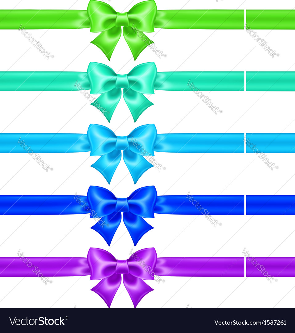 Silk bows in cool colors with ribbons vector | Price: 1 Credit (USD $1)