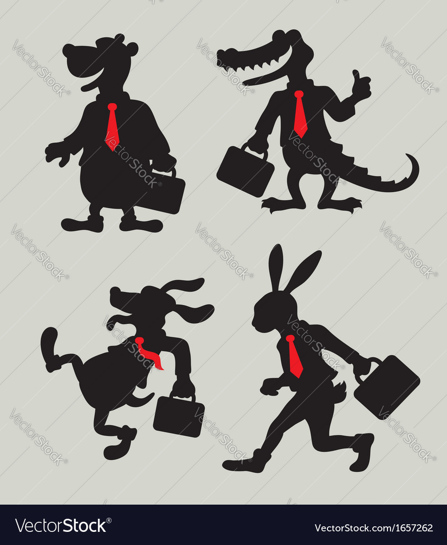 Animal business activity silhouettes vector | Price: 1 Credit (USD $1)