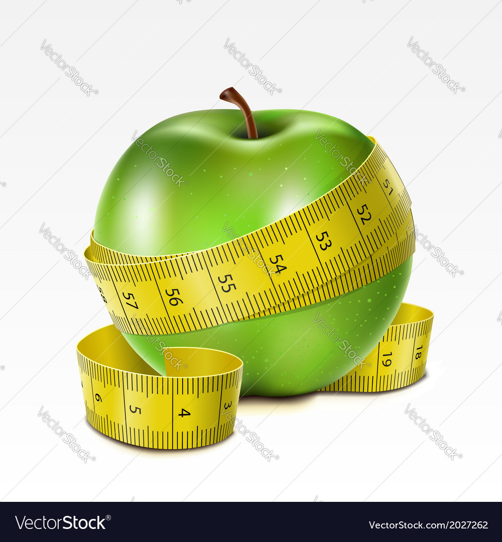 Apple with centimeter vector | Price: 1 Credit (USD $1)