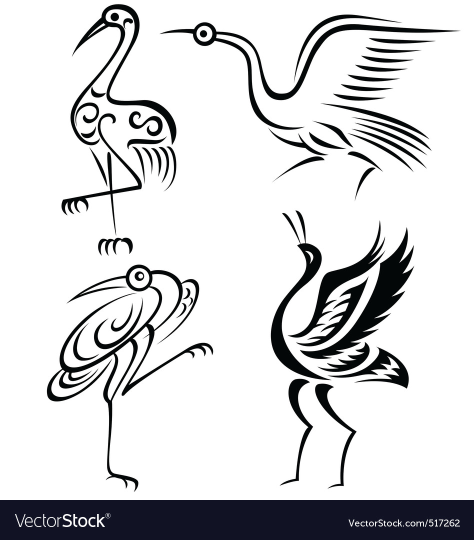 Bird crane illustration vector | Price: 1 Credit (USD $1)