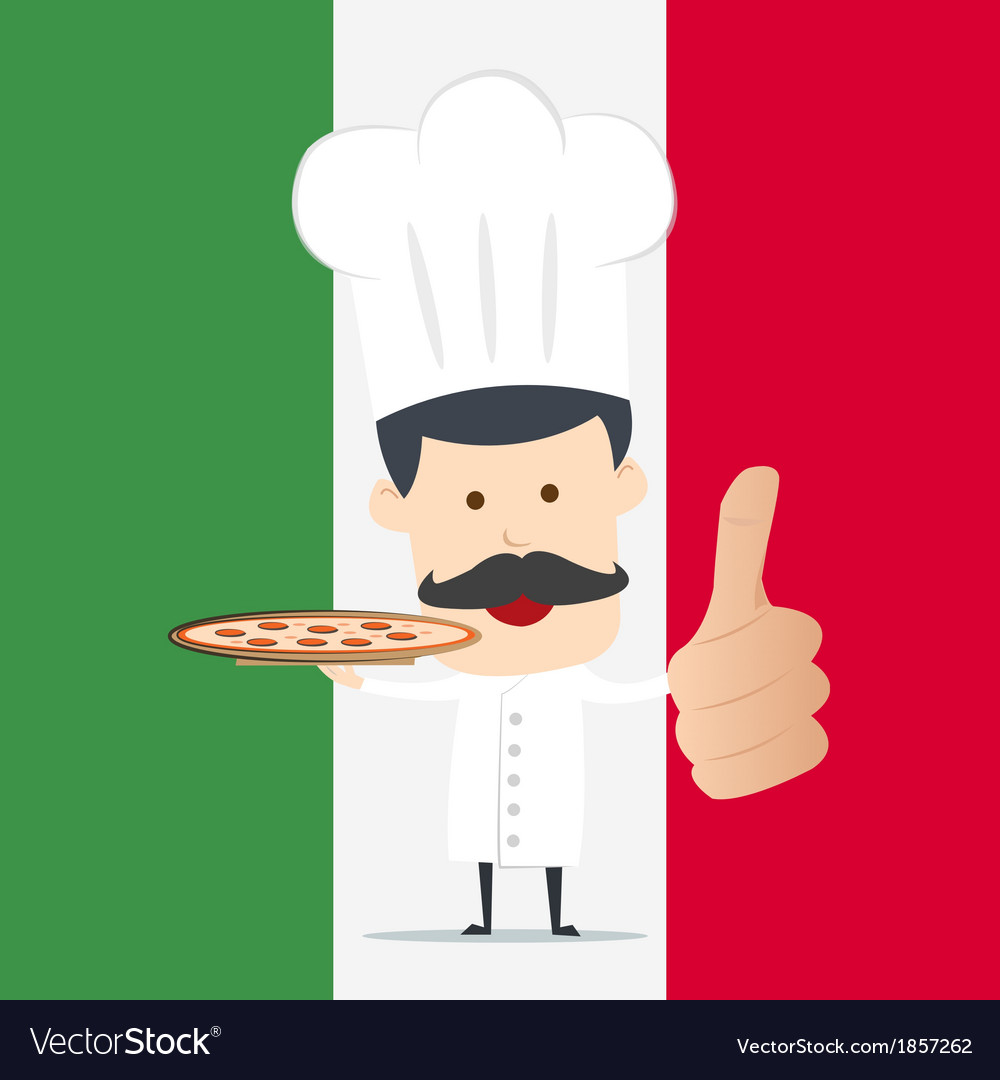 Chef serving pizza on the dish vector   Price: 1 Credit (USD $1)