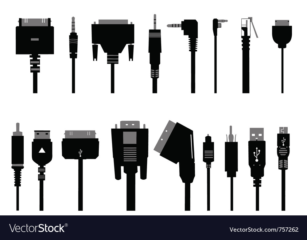 Different cable silhouettes vector | Price: 1 Credit (USD $1)