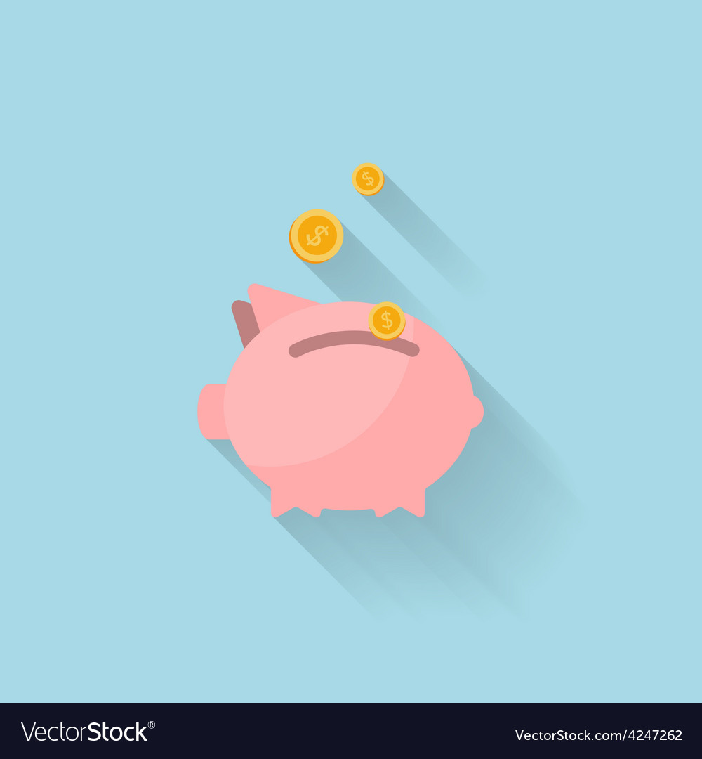 Flat piggy bank icon for web vector | Price: 1 Credit (USD $1)