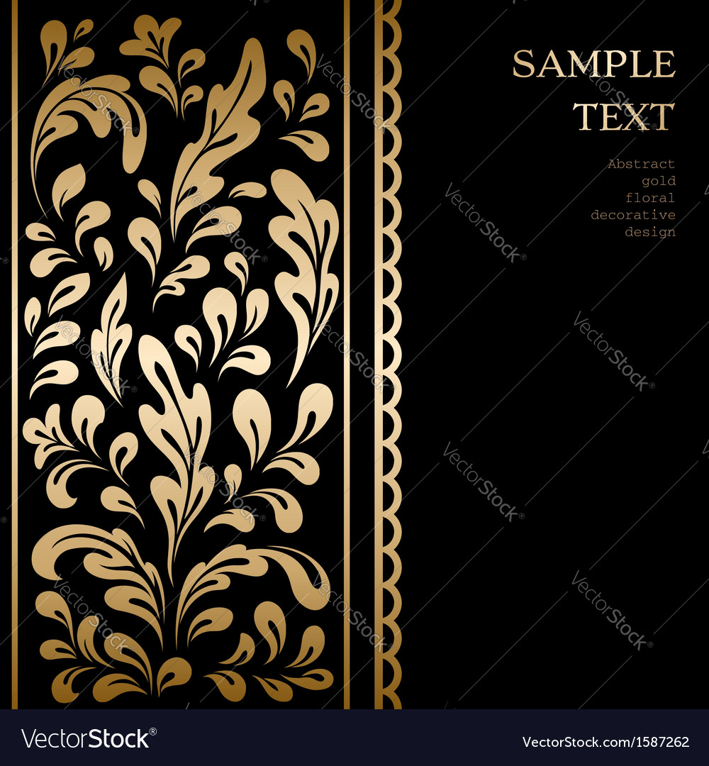 Gold leaves on black vector | Price: 1 Credit (USD $1)