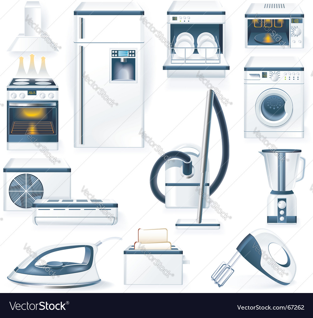 Household appliances icons vector | Price: 5 Credit (USD $5)