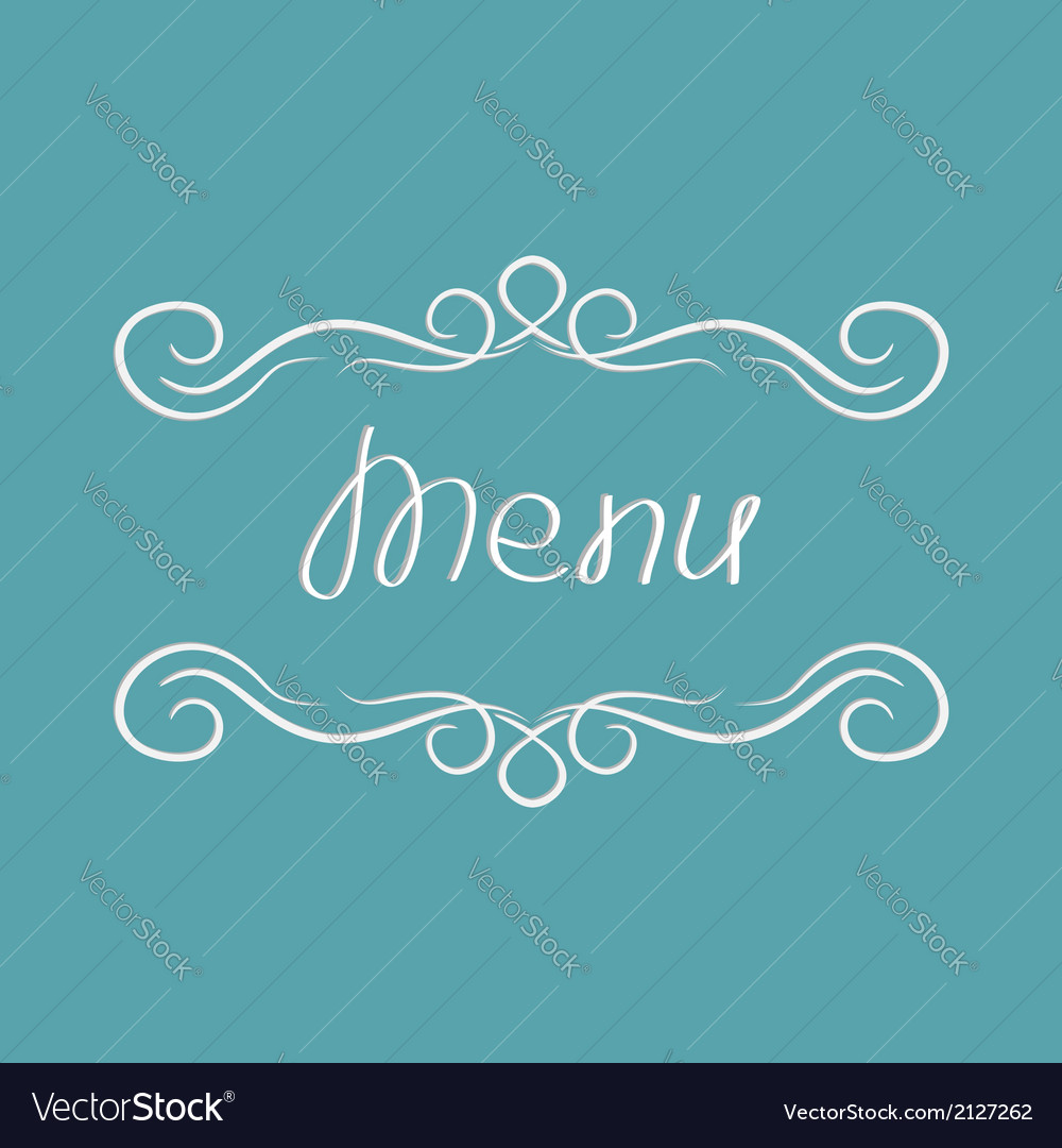 Menu cover design abstract calligraphic frame vector | Price: 1 Credit (USD $1)