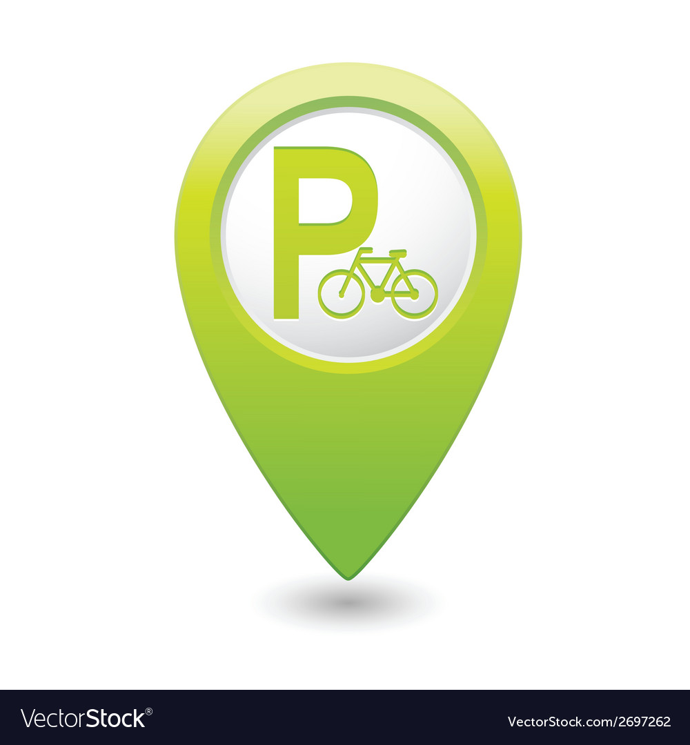 Parking bicycle symbol map pointer green vector | Price: 1 Credit (USD $1)