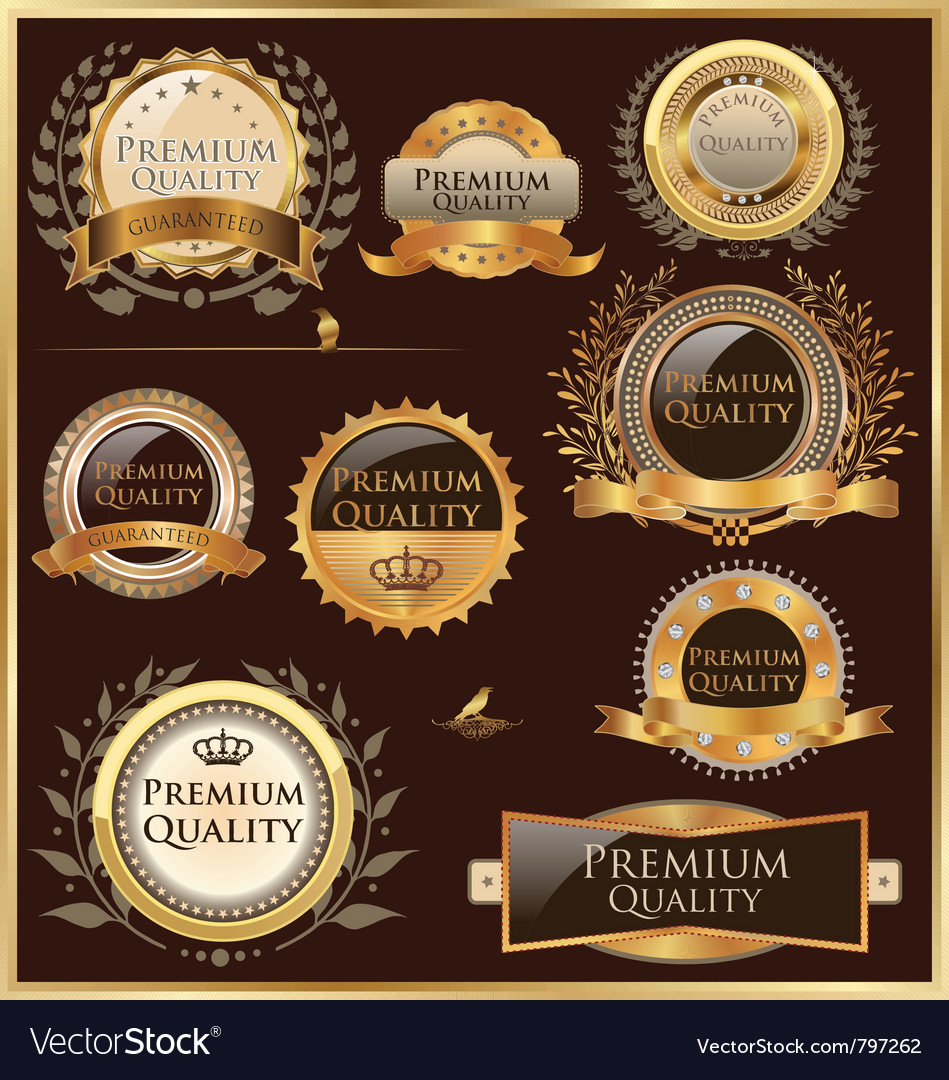 Premium quality golden labels and medallions vector | Price: 3 Credit (USD $3)