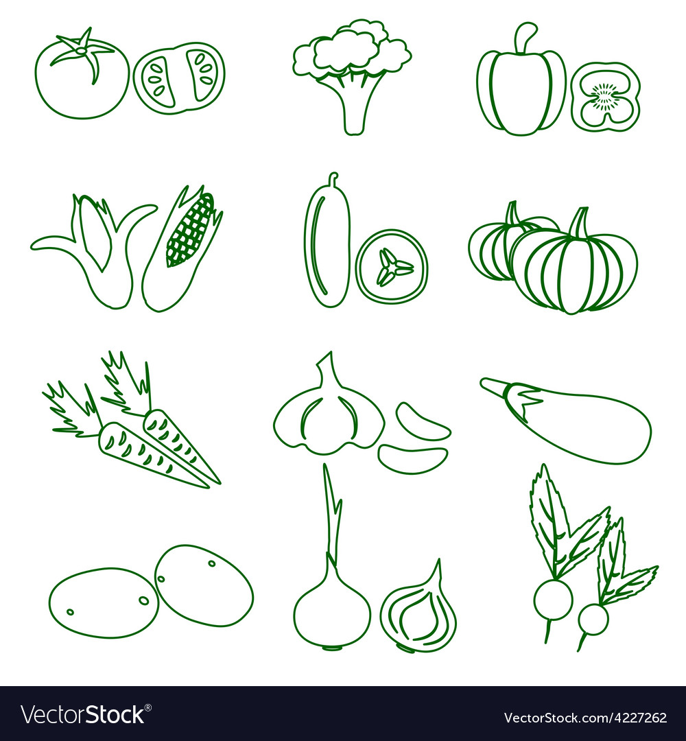 Set of black various vegetables outline icons vector | Price: 1 Credit (USD $1)