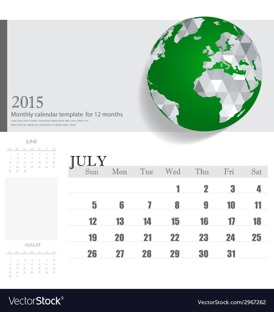 Simple 2015 calendar july vector | Price: 1 Credit (USD $1)