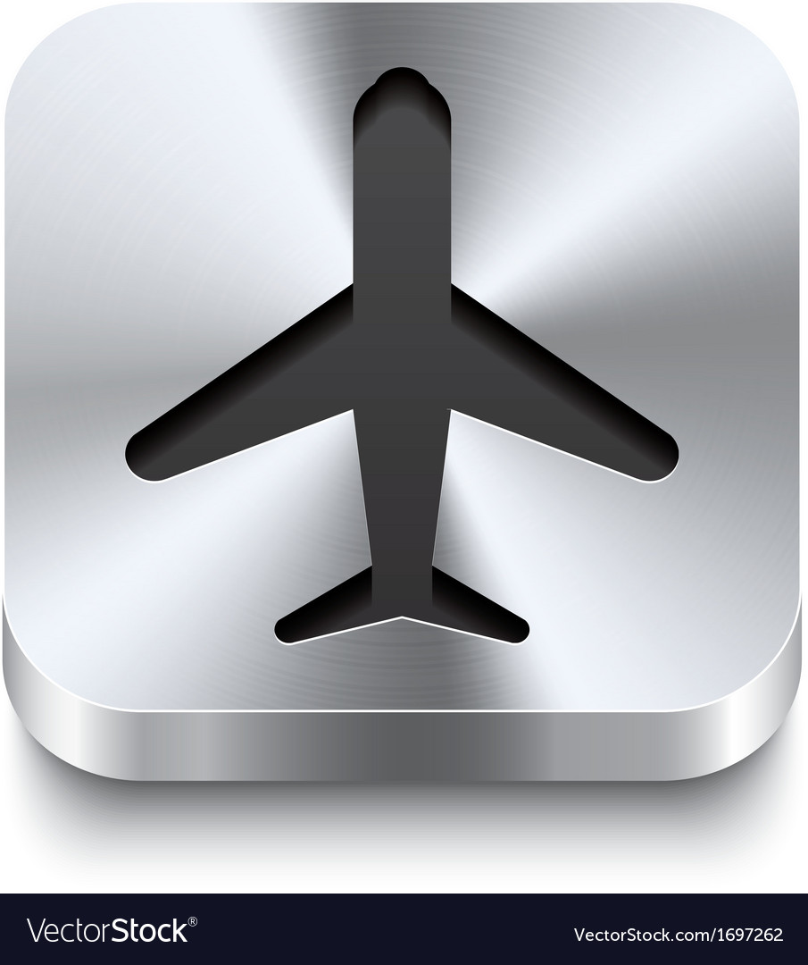 Square metal button perspektive - airplane icon vector | Price: 1 Credit (USD $1)