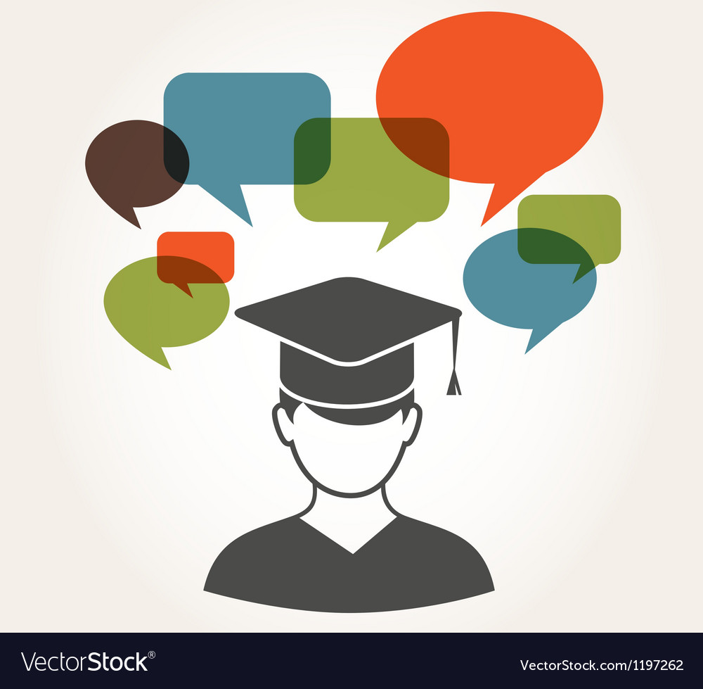 Student with speech bubbles vector | Price: 1 Credit (USD $1)