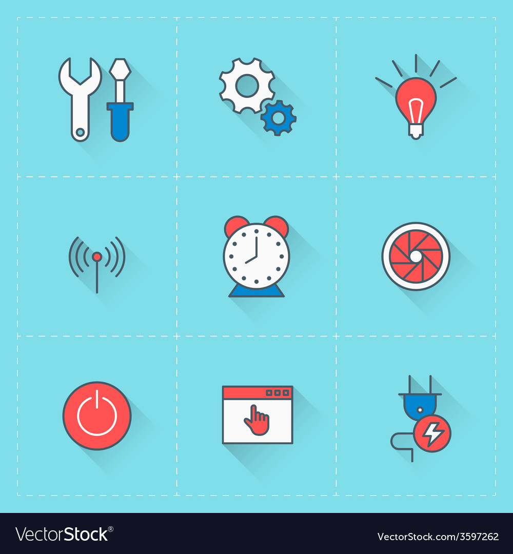 Technology icons icon set in flat design style for vector | Price: 1 Credit (USD $1)