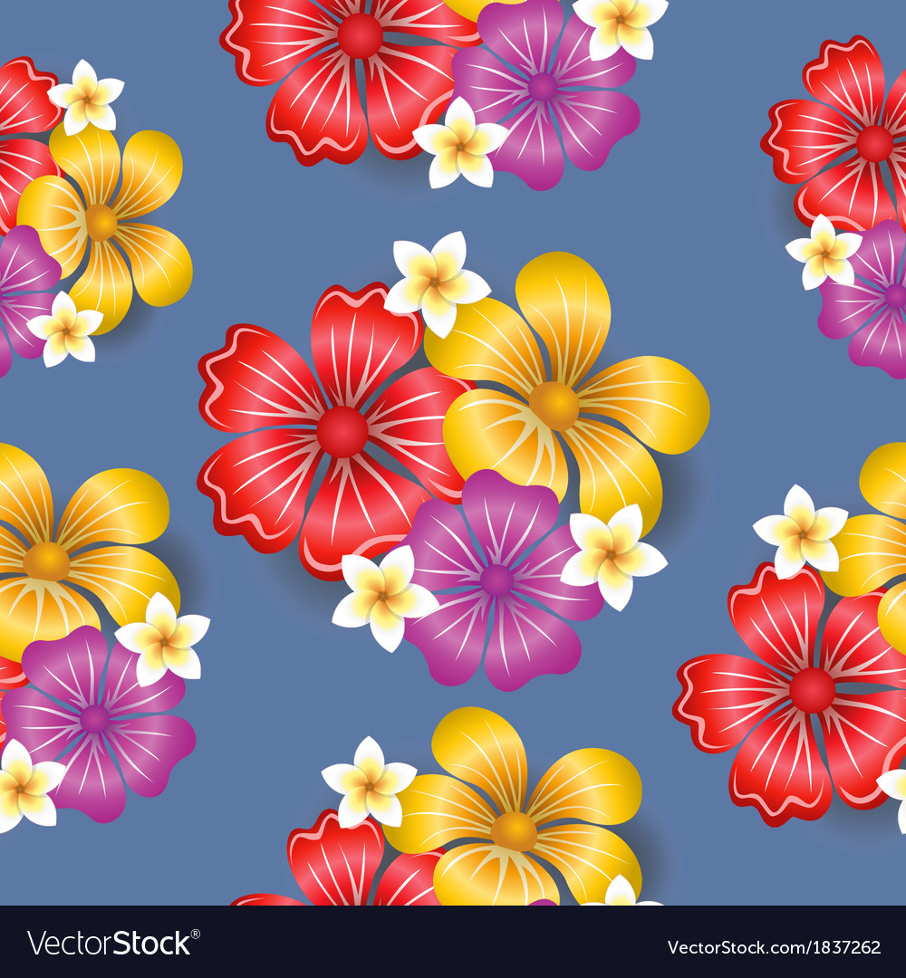 Tropical flowers seamless pattern background vector | Price: 1 Credit (USD $1)