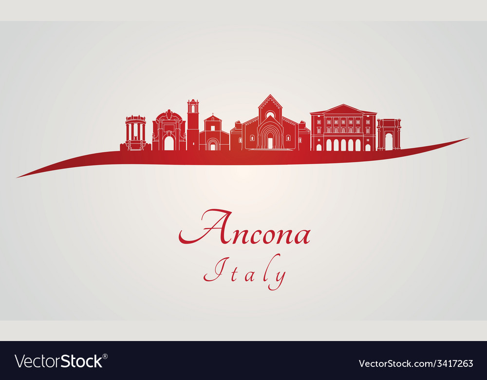 Ancona skyline in red vector | Price: 1 Credit (USD $1)