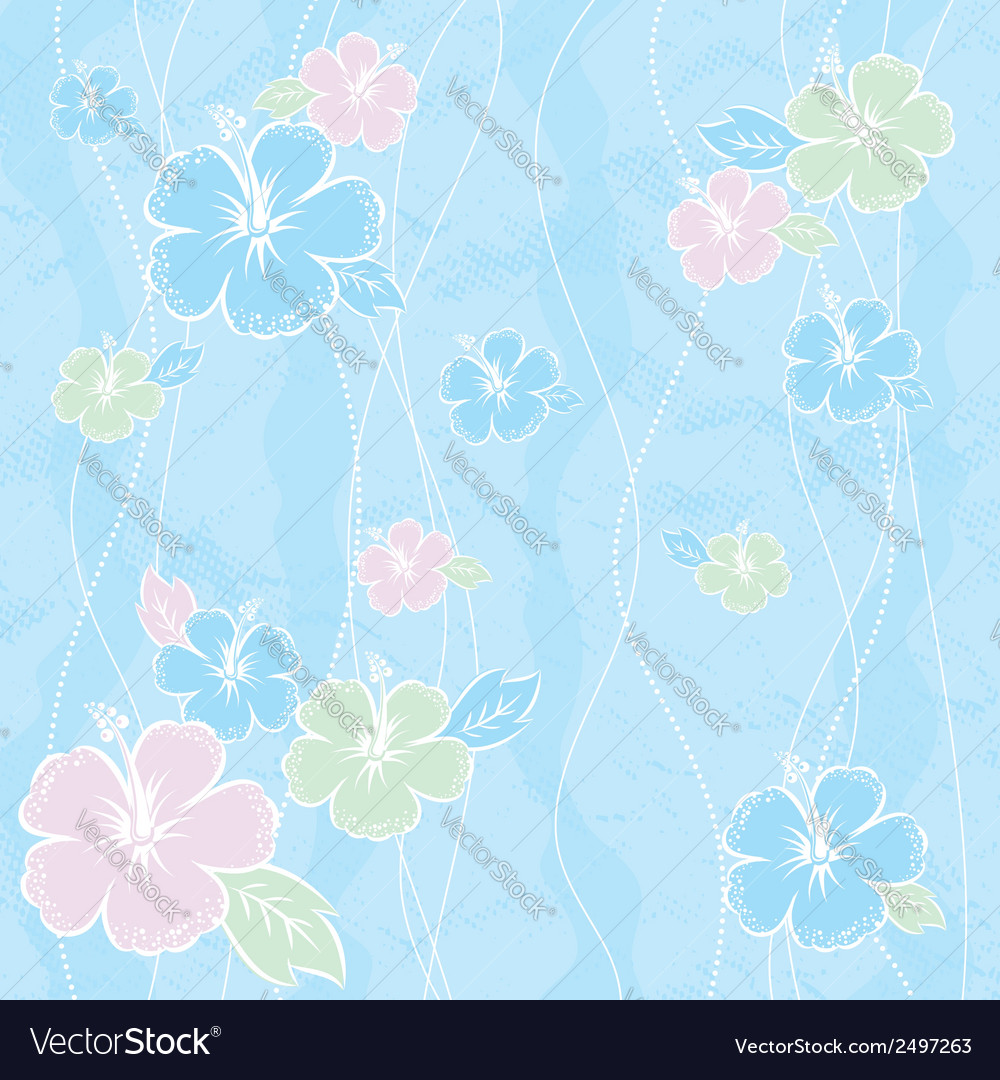 Bouquet of hibiscus on blue background vector | Price: 1 Credit (USD $1)